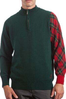 Glenmuir Heritage 100% Lambswool Tartan Sleeve Zip Neck Sweater - 50% OFF