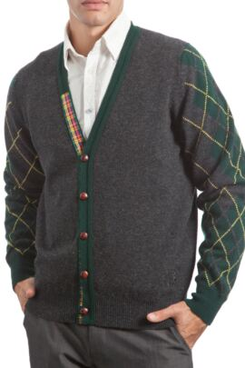 Glenmuir Heritage 100% Lambswool Argyle Arms V Neck Classic Fit Cardigan - 50% OFF