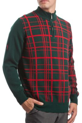 Glenmuir Heritage 100% Lambswool Checkered Grid Zip Neck Classic Fit Sweater - 50% OFF