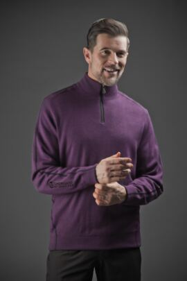 Mens Water Repellent Zip Neck Performance Lined Sweater