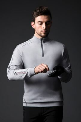 Mens Zip Neck Raglan Sleeve Water Repellent Lined Merino Blend Golf Sweater