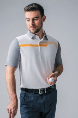 Mens Melange Chest Stripe Performance Golf Polo Shirt