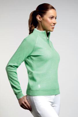 Ladies Cotton Mesh Textured Front Panel Zip Neck Golf Sweater