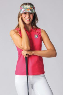 Official Ryder Cup 2018 Ladies Sleeveless Performance Pique Golf Polo Shirt