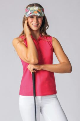 Ladies Sleeveless Performance Pique Golf Polo Shirt