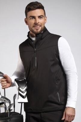 Mens Zip Neck Water Repellent Performance Sleeveless Golf Windshirt