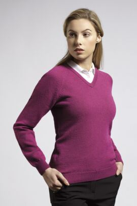 Ladies V Neck Raglan Sleeve Lambswool Blend Golf Sweater