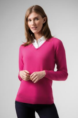 Ladies V Neck Raglan Sleeve Lambswool Blend Golf Sweater
