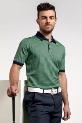 Glenmuir Mens Rib Cuff Narrow Stripe Mercerised Cotton Golf Polo Shirt