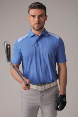 Mens Contrast Shoulder Laser Cut Placket Performance Golf Polo Shirt