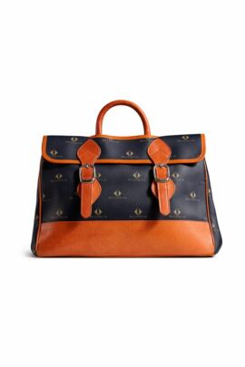 Glenmuir Retro Diamond Print Leather Buckle Satchel Bag - Sale
