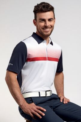 Glenmuir Mens Performance Jersey Printed Stripe Polo