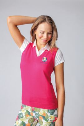Official Ryder Cup 2018 Glenmuir Ladies Merino Wool Golf Slipover