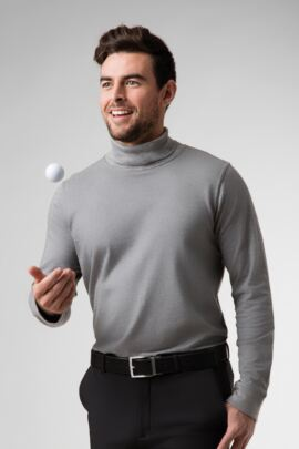 Mens Roll Neck Long Sleeve Cotton Golf Shirt