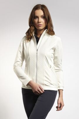 Ladies Embossed Diamond Zip Front Performance Mid Layer