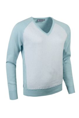 Glenmuir Ladies Cotton Contrast Front Panel V Neck Golf Sweater - Sale