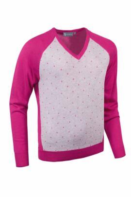 Glenmuir Ladies Cotton Contrast Front Panel V Neck Golf Sweater - Sale