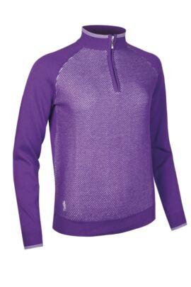 Ladies Cotton Mesh Textured Front Panel Zip Neck Golf Sweater - SALE