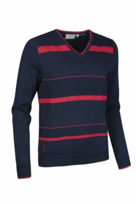 Ladies Cotton Textured Stripe Front V Neck Golf Sweater - Sale
