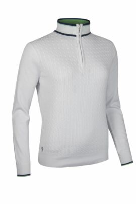 Ladies Cotton Micro Cable Knit Tipping Detail Zip Neck Golf Sweater - Sale