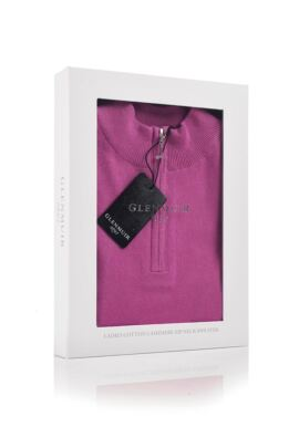 Ladies Zip Neck Touch of Cashmere Sweater Gift Box