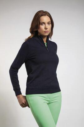 Glenmuir Ladies Cotton Zip Neck Lightweight Stretch Lined Golf Sweater