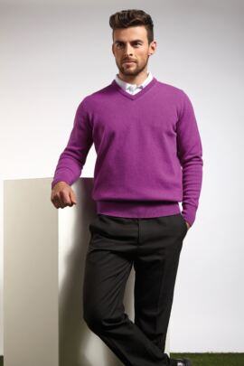 Mens Lambswool V Neck Golf Sweater - Sale