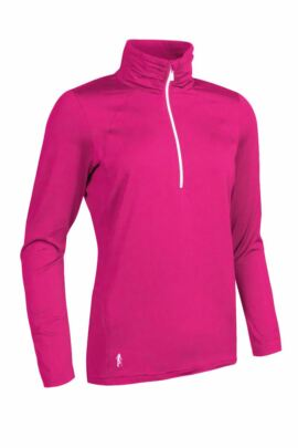 Ladies Performance Zip Neck Midlayer with Ruche Collar and Sleeve - Sale