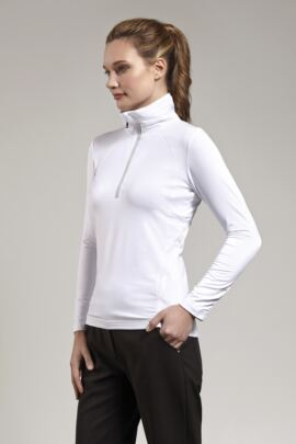 Ladies Performance Zip Neck Shirt with Ruche Collar and Sleeve detail