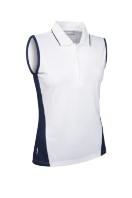 Ladies Performance Block Panel Sleeveless Zip Neck Golf Polo - SALE