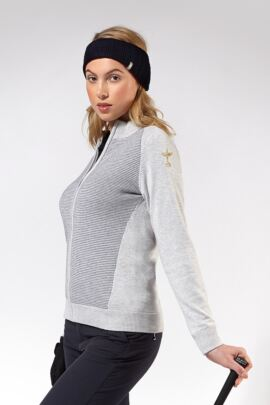 Official Ryder Cup 2018 Ladies Cotton Birdseye Lined Zip Front Cardigan