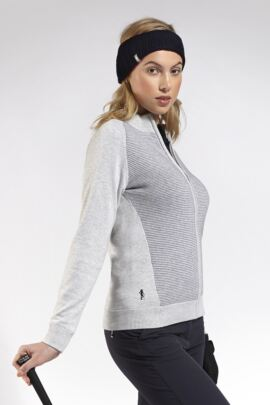 Ladies Zip Front Birdseye Lined Cotton Golf Cardigan