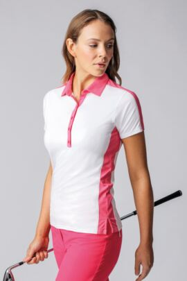 Ladies Melange Panel Golf Polo Shirt