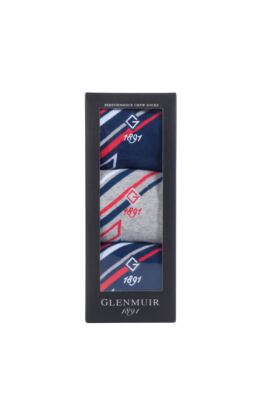 Mens 3 Pair Jacquard Stripe Sock Gift Box