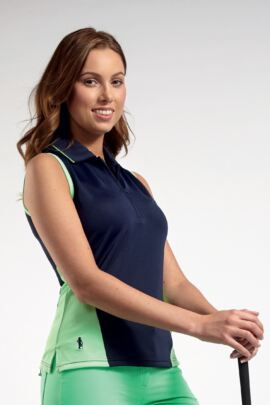 Ladies Performance Block Panel Sleeveless Zip Neck Golf Polo