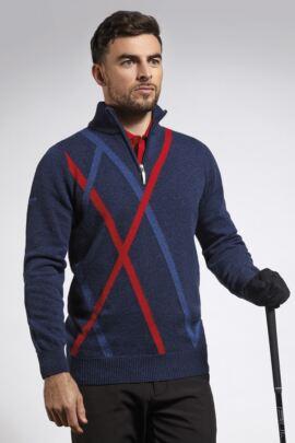 Mens Abstract Diamond Intarsia Detail Zip Neck Golf Sweater