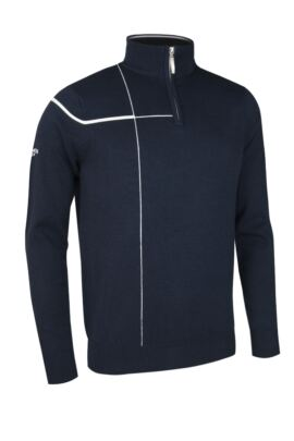Mens Crossover Intarsia Chest Stripe Zip Neck Golf Sweater - SALE