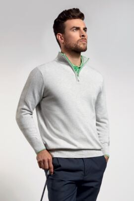Mens Cotton Zip Neck Sweater with Ottoman Stitch Sleeve