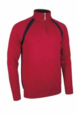 Mens Cotton Zip Neck Golf Sweater with Contrast Strapping Side Panels - Sale