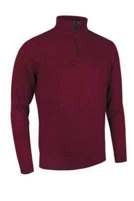 Mens Cotton Cashmere Zip Neck Golf Sweater with Tartan Placket - Sale