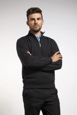Mens Merino Zip Neck Water Repellent Lightweight Lined Sweater
