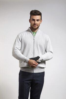 Glenmuir Mens Cotton Zip Front Lightweight Stretch Lined Sweater