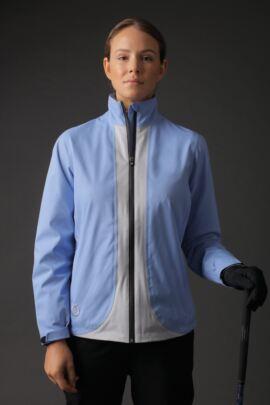 Ladies Zip Front Contrast Colour Lightweight Waterproof Golf Jacket