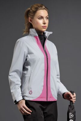 Ladies Contrast Colour Lightweight Waterproof Golf Jacket