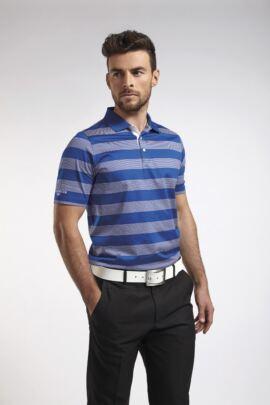 Glenmuir Mens Block Stripe Mercerised Cotton Golf Polo Shirt