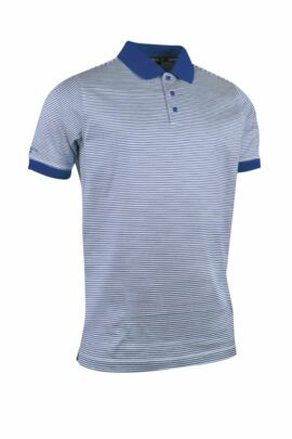 Glenmuir Mens Rib Cuff Narrow Stripe Mercerised Cotton Golf Polo Shirt - Sale