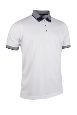 Mens Birdseye Tipped Collar Mercerised Cotton Pique Polo Shirt - SALE