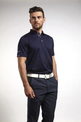 Mens Tartan Cuff and Placket Mercerised Cotton Tailored Collar Golf Polo
