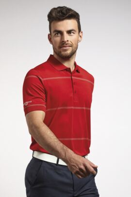 Mens Performance Stretch Stripe Golf Polo Shirt - SALE