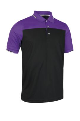 Mens Colour Block Performance Golf Polo with Jacquard Collar and Cuffs - Sale